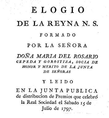 Elogio de la reyna (1797) by María del Rosario Cepeda