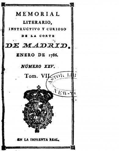 """Discurso sobre si se debían o no admitir las señoras en la Sociedad Económica de Madrid"""" (1786) by Gaspar Melchor de Jovellanos"""